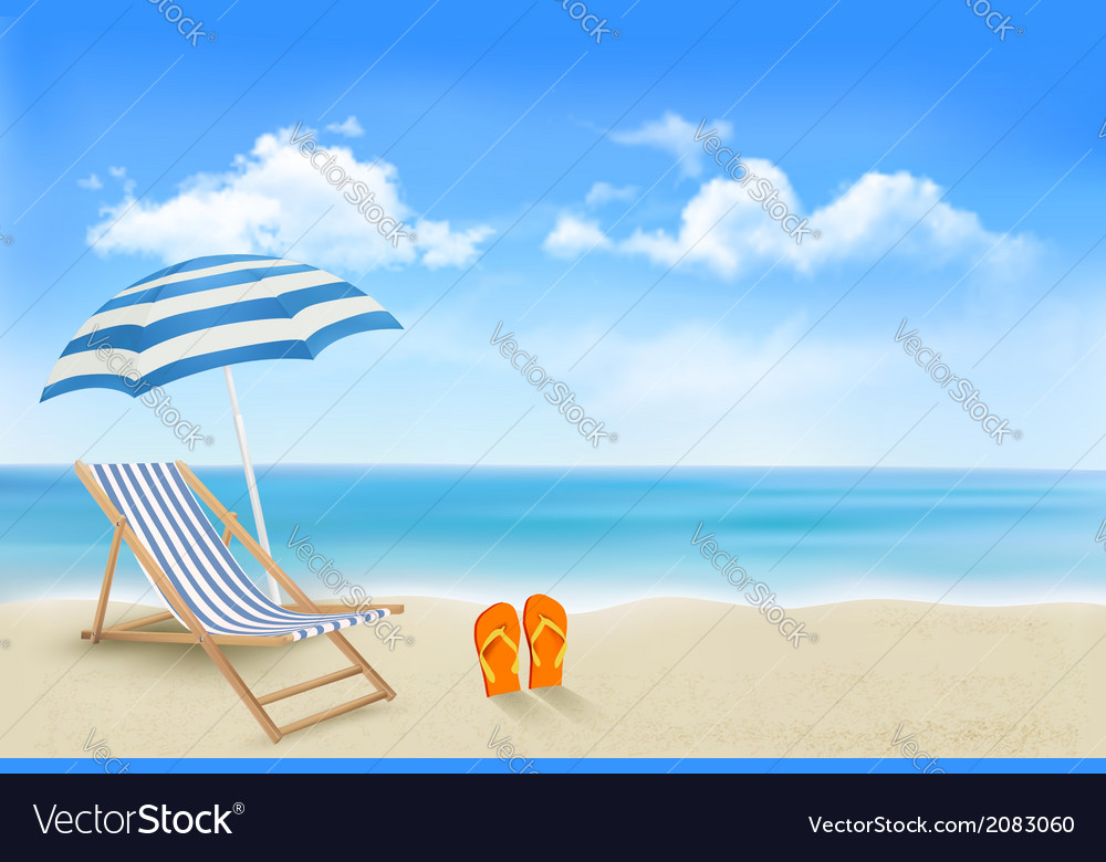 Seaside view with an umbrella beach chair and a vector | Price: 1 Credit (USD $1)