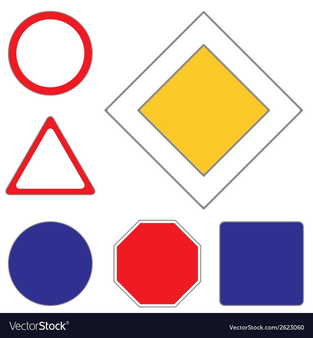 Set of clean road signs vector | Price: 1 Credit (USD $1)