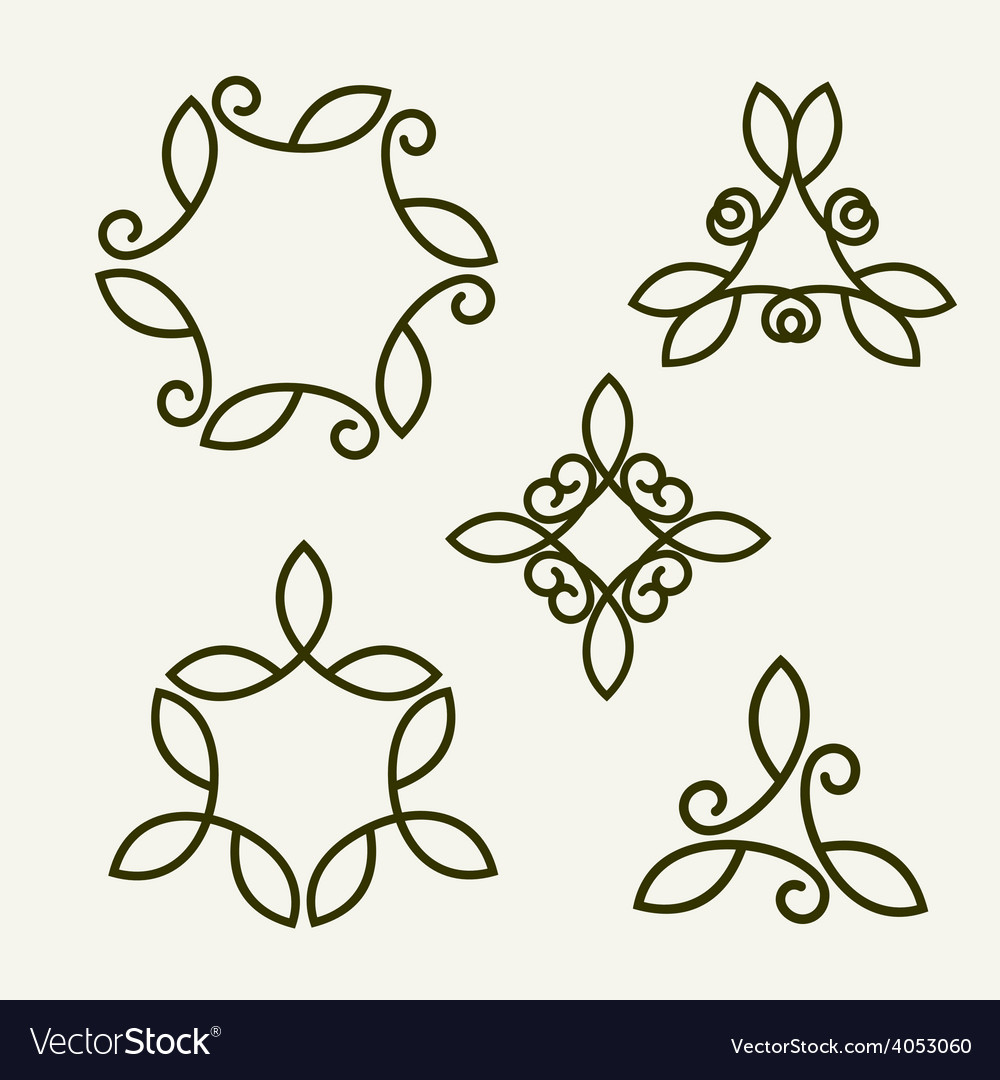 Set of stylish floral monogram vector | Price: 1 Credit (USD $1)