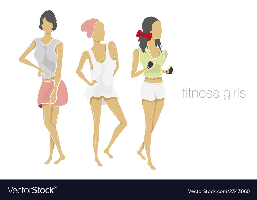 Slender shape fitness girls vector | Price: 1 Credit (USD $1)