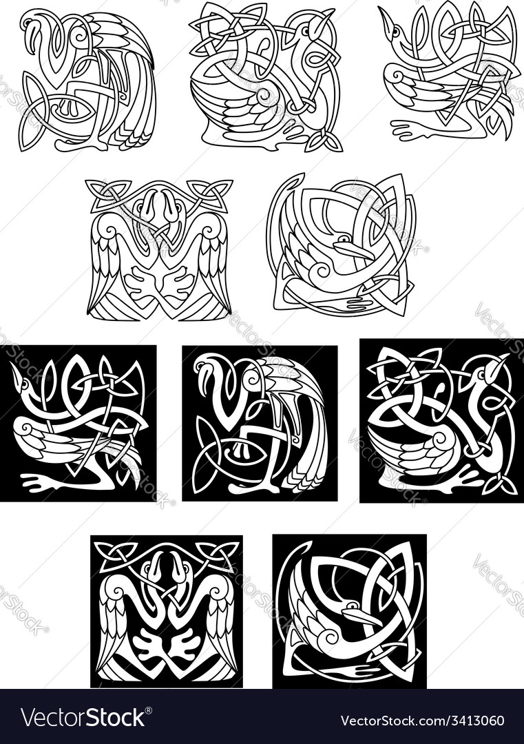 Stork and heron birds in celtic patterns vector | Price: 1 Credit (USD $1)