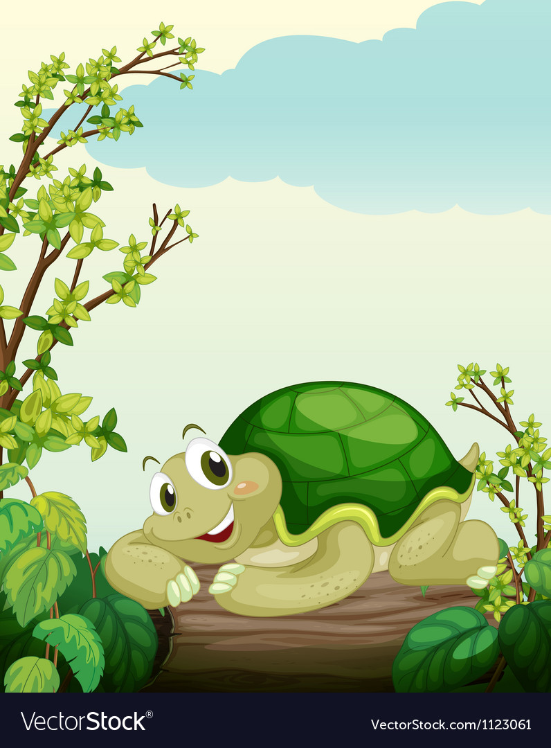 A turtle lying on dry wood vector | Price: 1 Credit (USD $1)