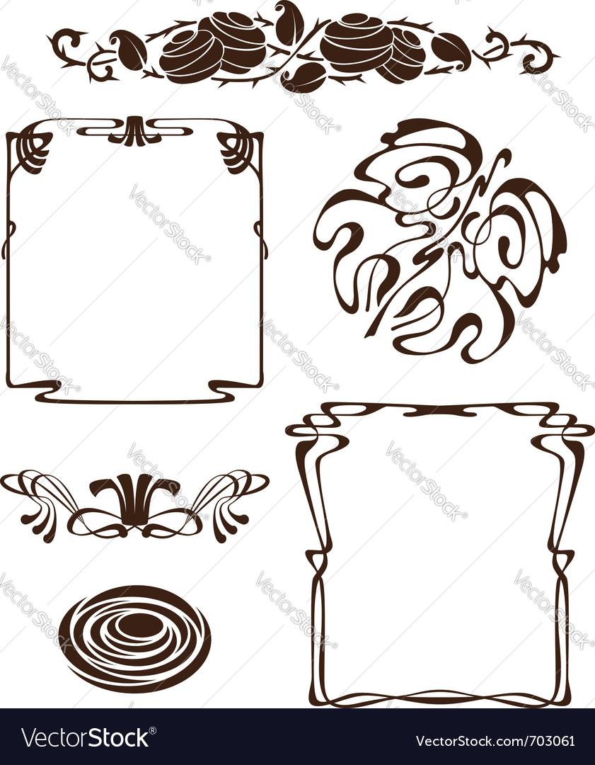 Art nouveau design elements vector | Price: 1 Credit (USD $1)