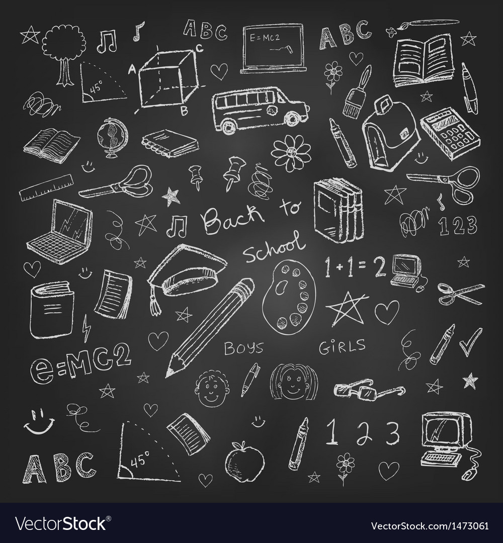 Back to school doodles in chalkboard background vector | Price: 3 Credit (USD $3)
