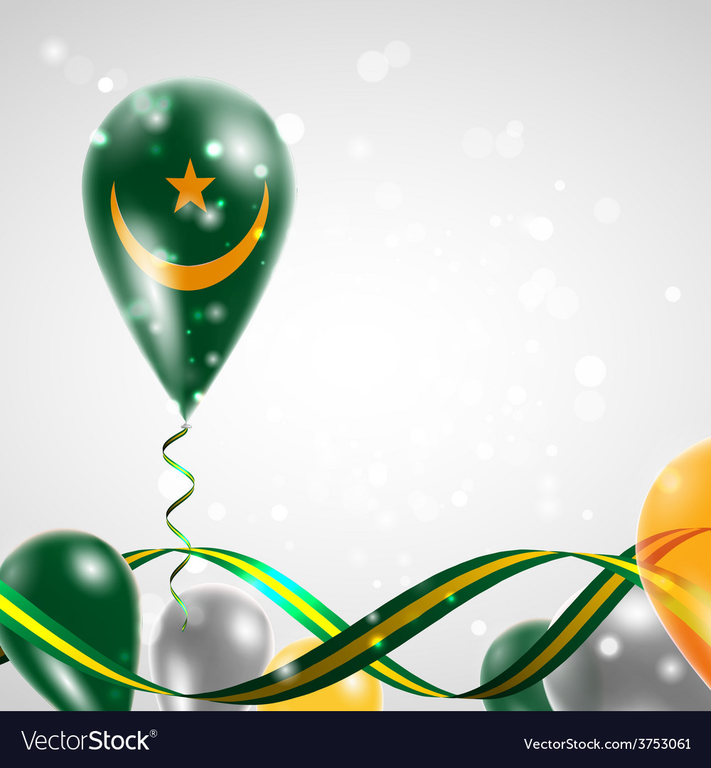 Flag of mauritania on balloon vector | Price: 1 Credit (USD $1)