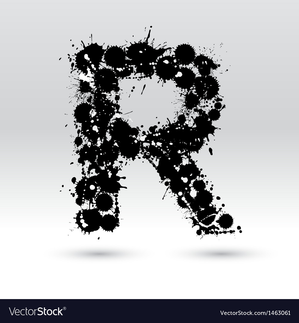 Letter r formed by inkblots vector | Price: 1 Credit (USD $1)