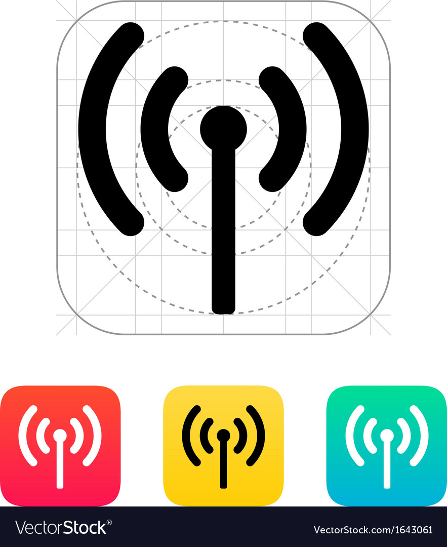 Radio antenna sending signal icon vector | Price: 1 Credit (USD $1)