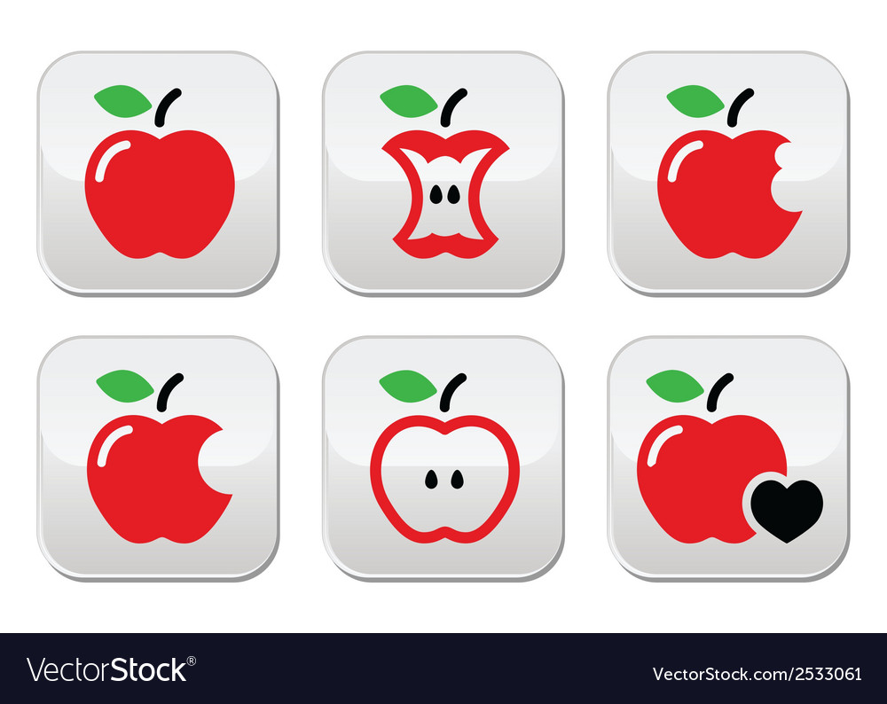 Red apple apple core bitten half buttons vector | Price: 1 Credit (USD $1)