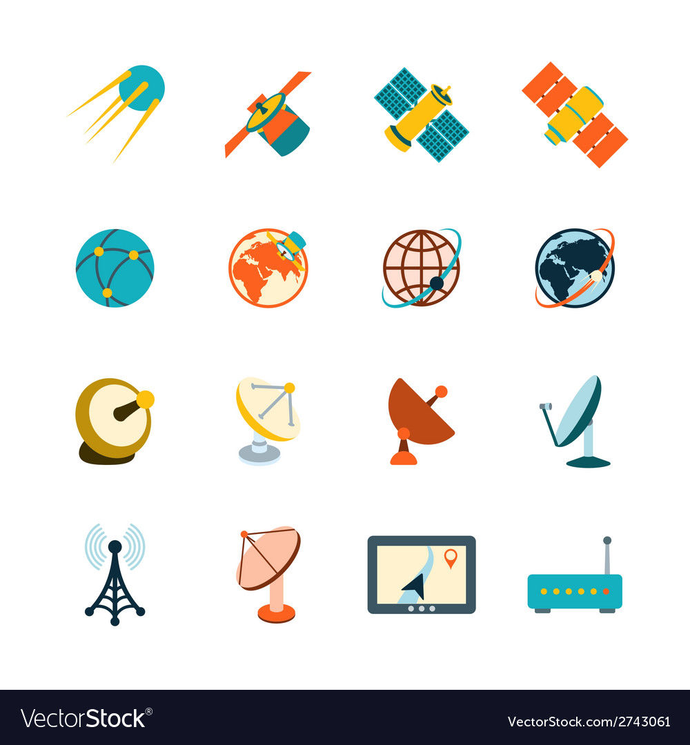 Satellite icons set vector | Price: 1 Credit (USD $1)