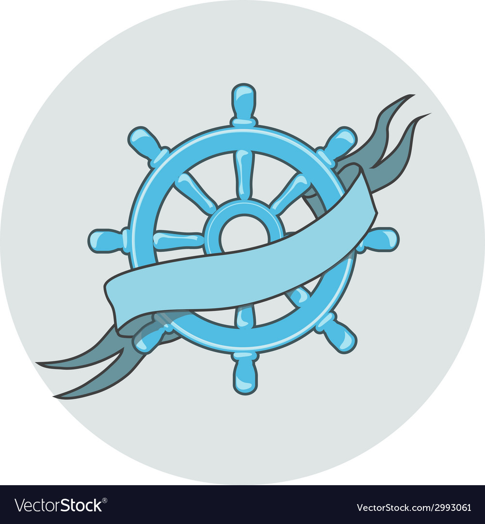 Ship wheel banner isolated whith ribbon vector | Price: 1 Credit (USD $1)