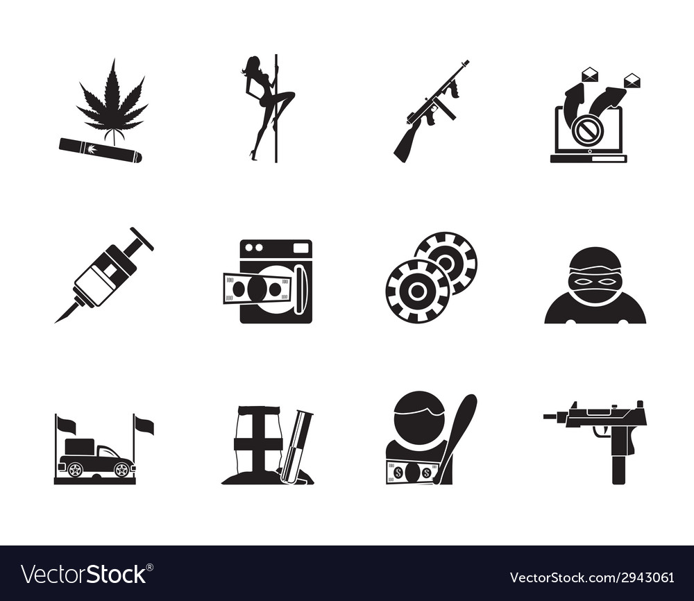 Silhouette mafia and organized criminality vector | Price: 1 Credit (USD $1)
