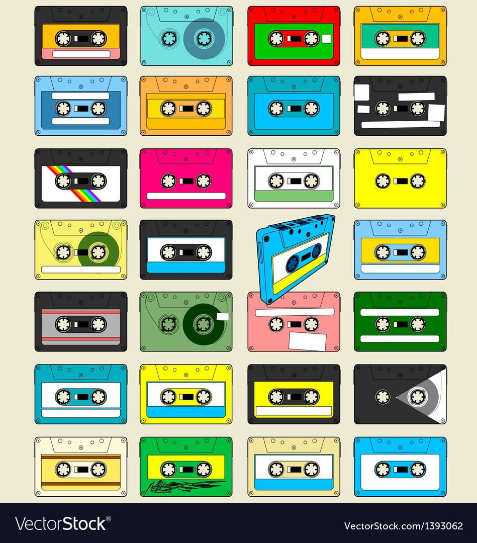 Audio cassette tape wallpaper vector | Price: 3 Credit (USD $3)
