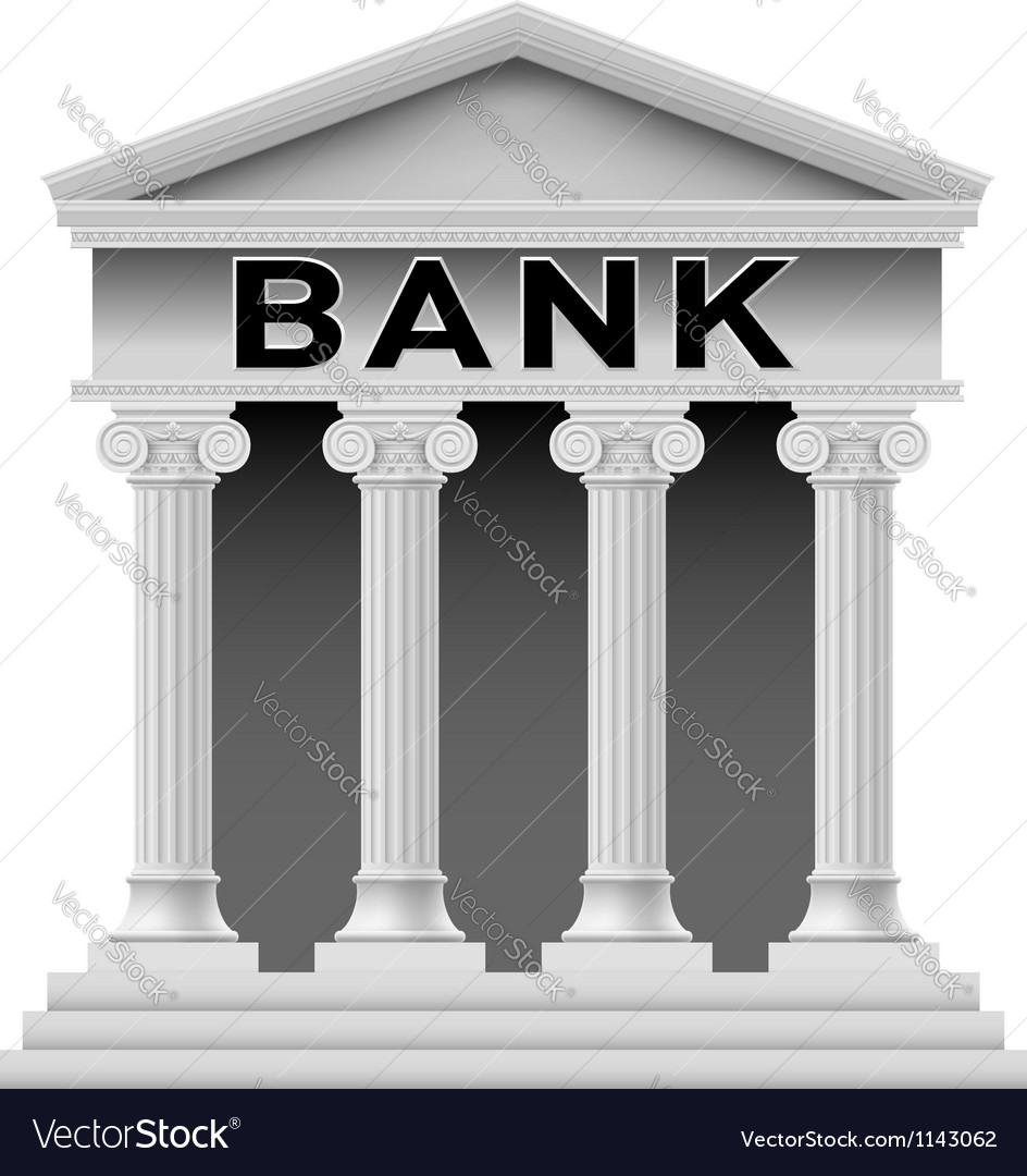 Bank building symbol vector | Price: 1 Credit (USD $1)