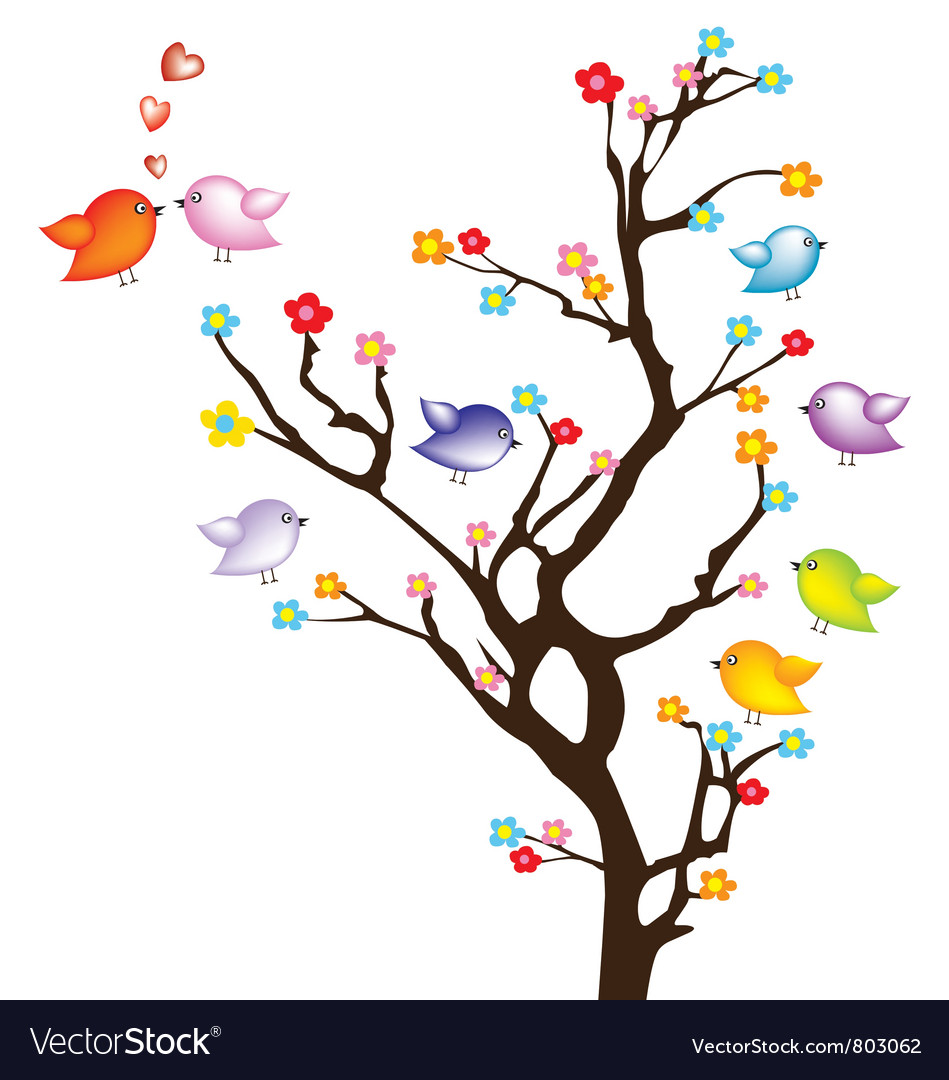 Bird on tree vector | Price: 1 Credit (USD $1)