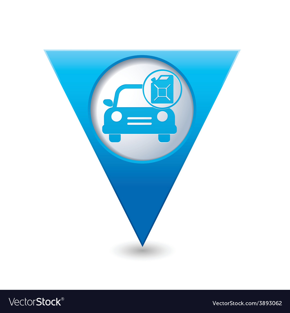 Cars canister blue triangular map pointer vector | Price: 1 Credit (USD $1)