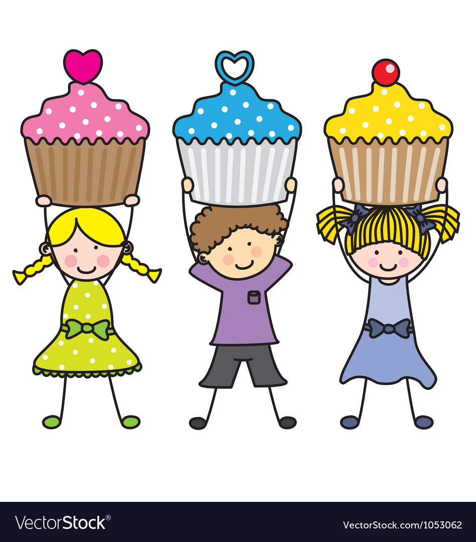 Children with some muffins vector | Price: 1 Credit (USD $1)