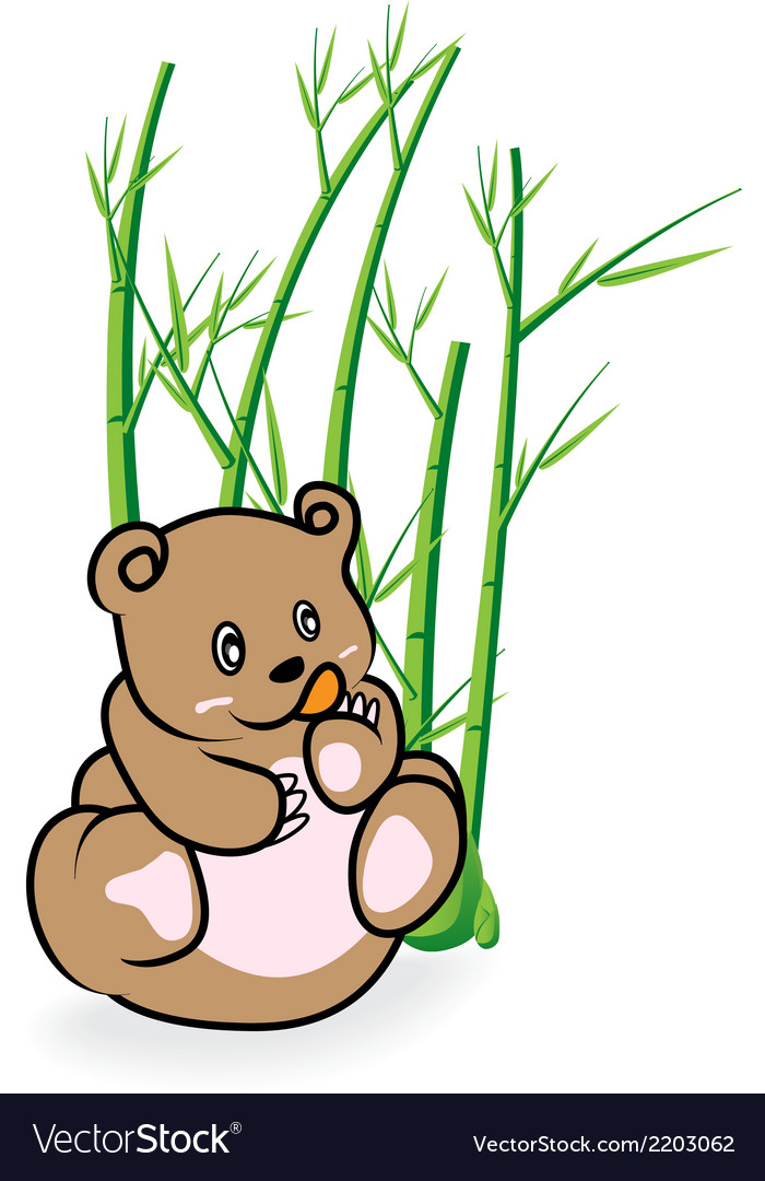 Cute bear in bamboo forrest 03 vector | Price: 1 Credit (USD $1)