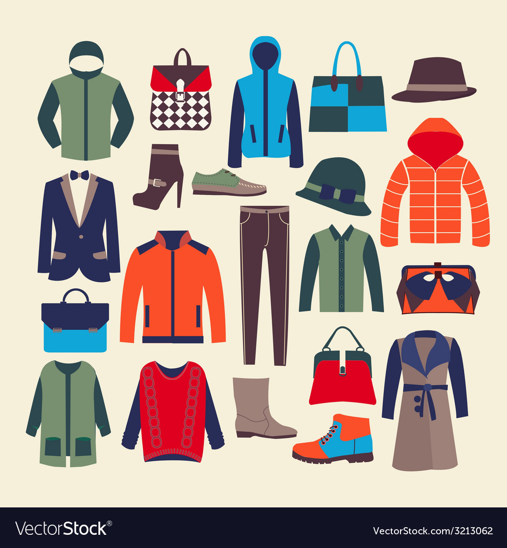 Fashion clothes and accessorie vector