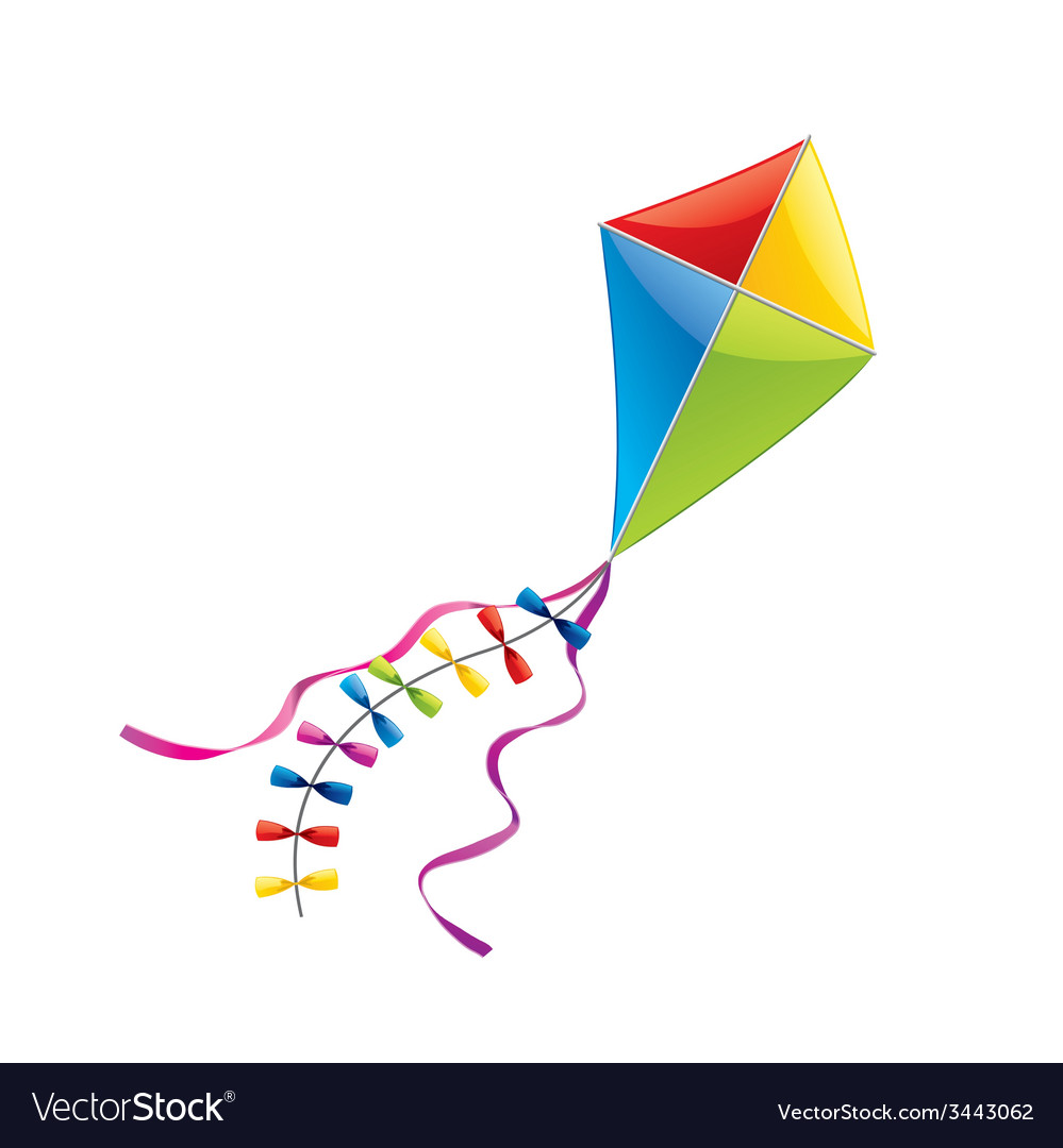 Flying kite isolated vector | Price: 1 Credit (USD $1)
