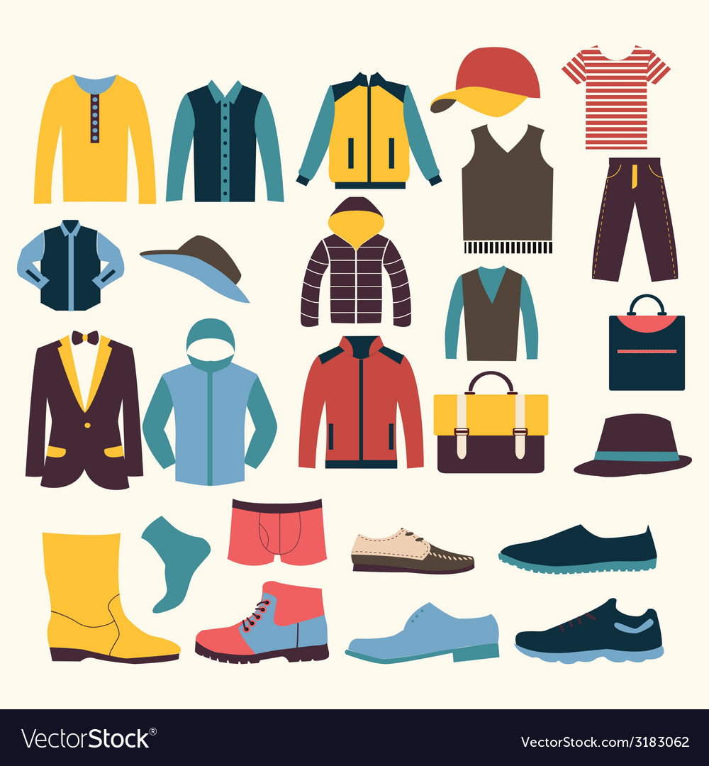 Icons set of fashion elements men clothes vector | Price: 1 Credit (USD $1)