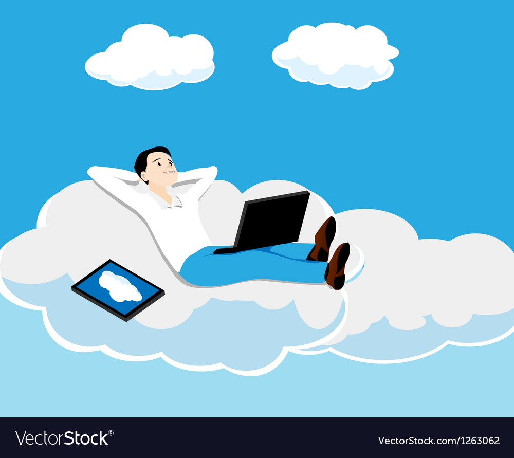 Person on a cloud vector | Price: 1 Credit (USD $1)