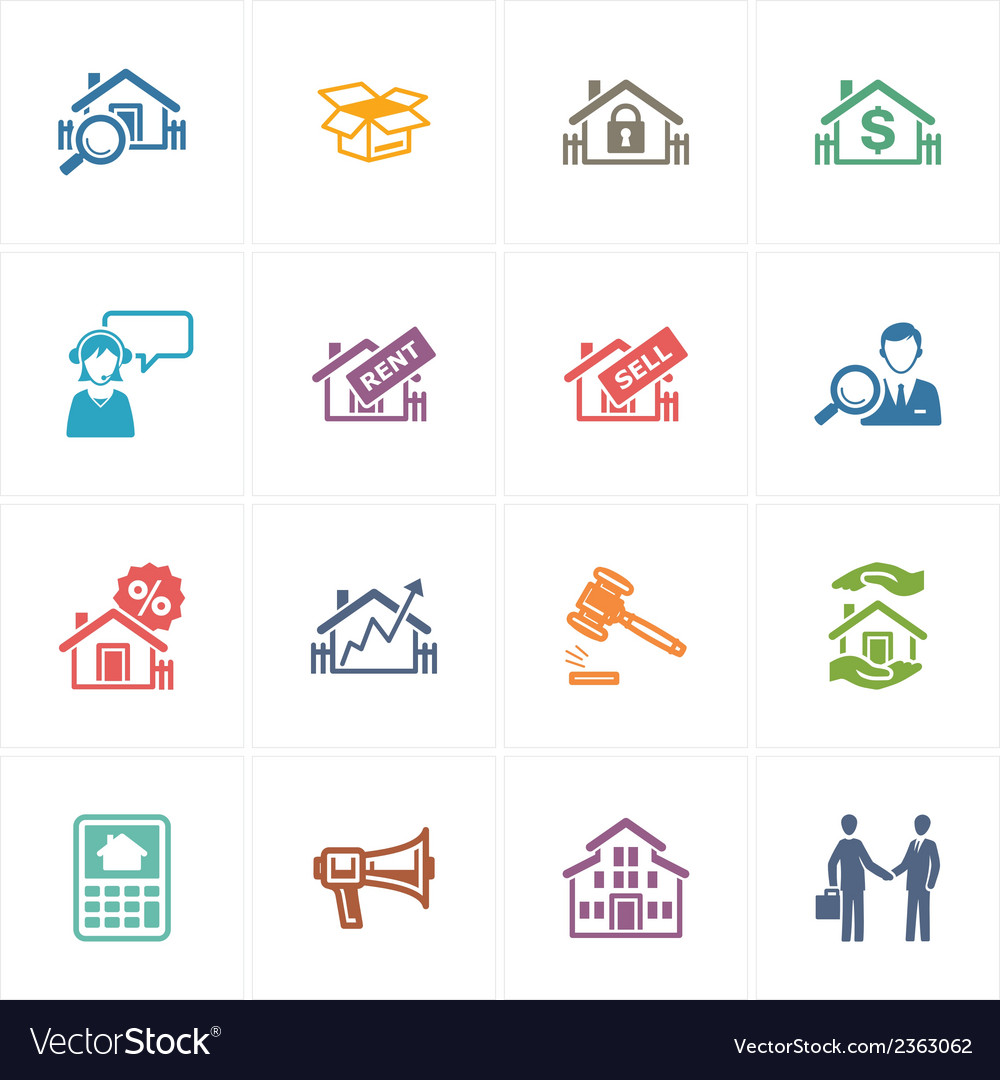 Real estate icons - colored series vector | Price: 1 Credit (USD $1)