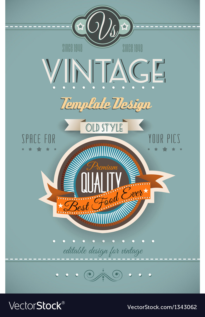 Vintage retro page template for a variety of vector | Price: 1 Credit (USD $1)