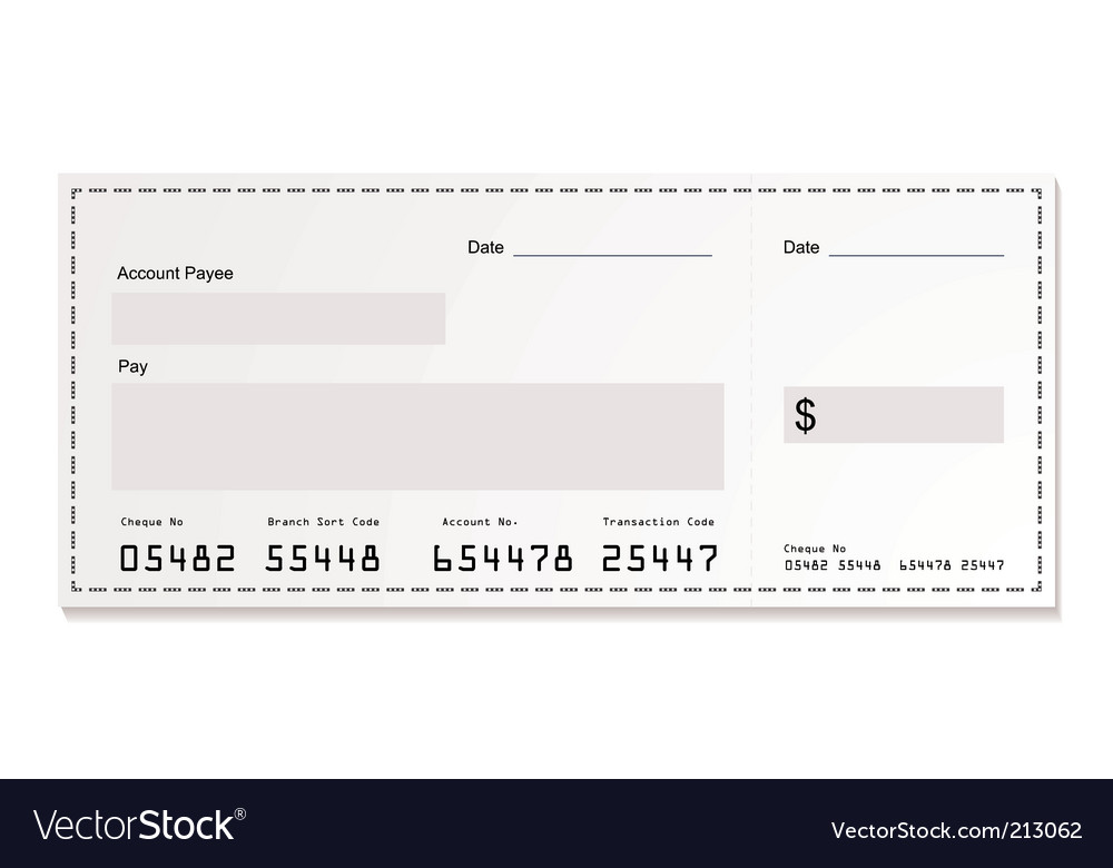 White dollar cheque vector | Price: 1 Credit (USD $1)