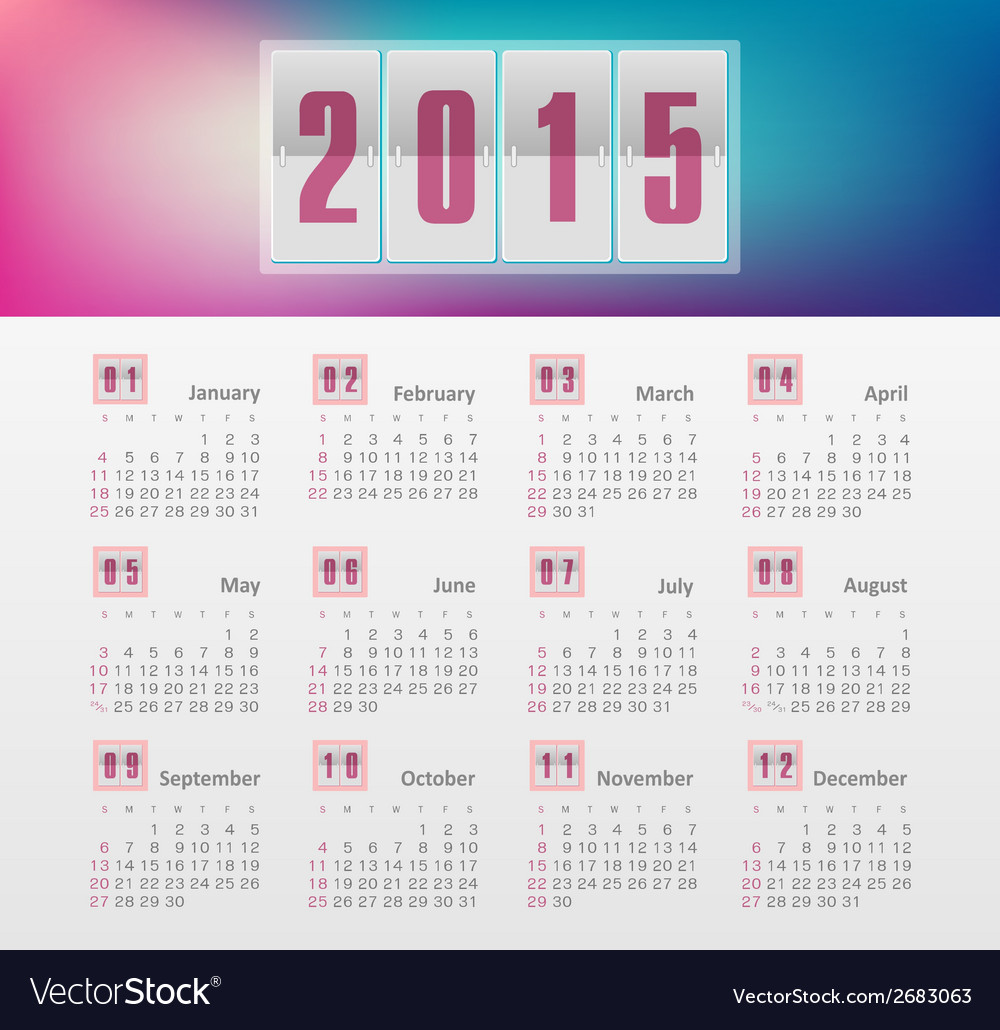 Calendar 2015 year with gradient vector | Price: 1 Credit (USD $1)