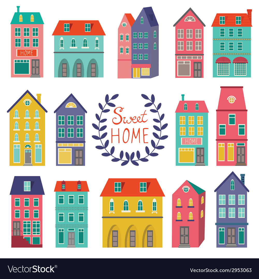 Colorful houses collection vector | Price: 1 Credit (USD $1)
