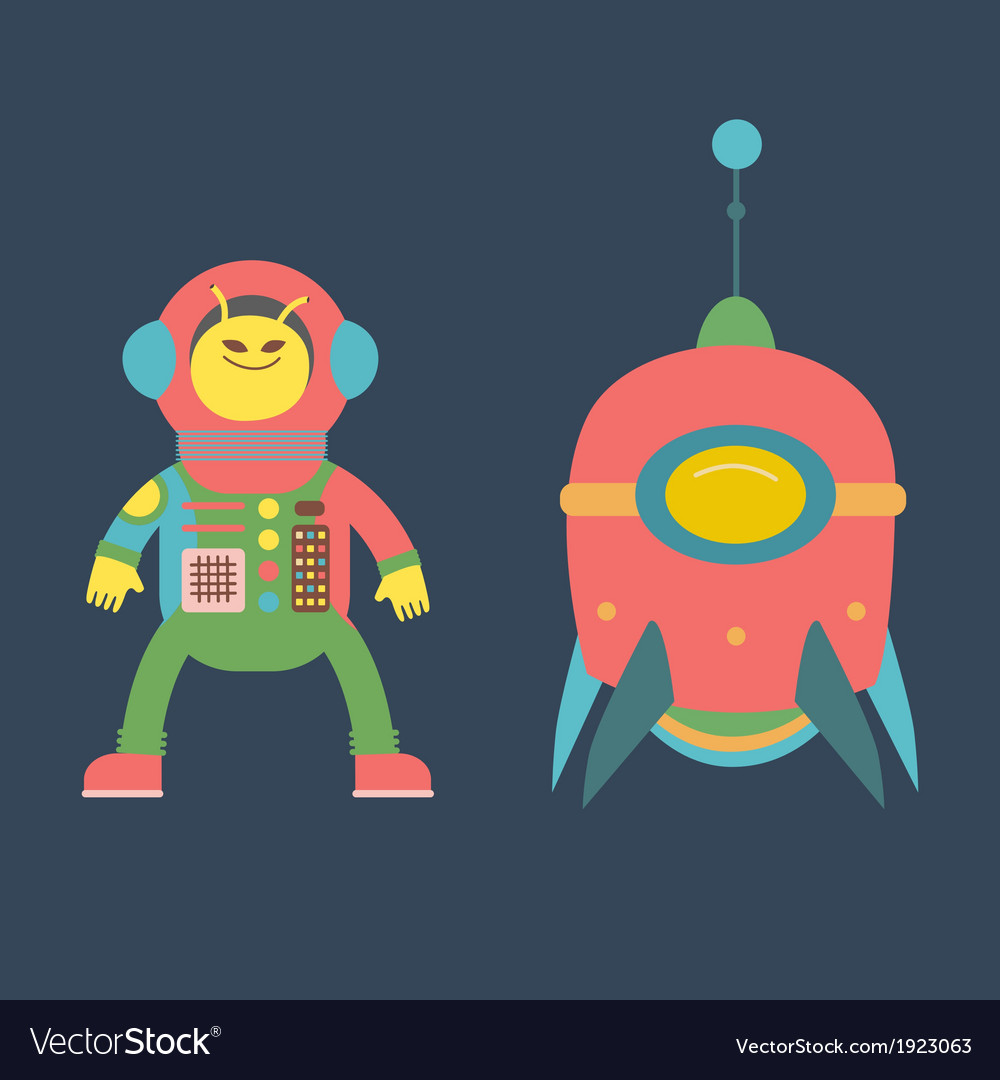 Cute alien and rocket vector | Price: 1 Credit (USD $1)
