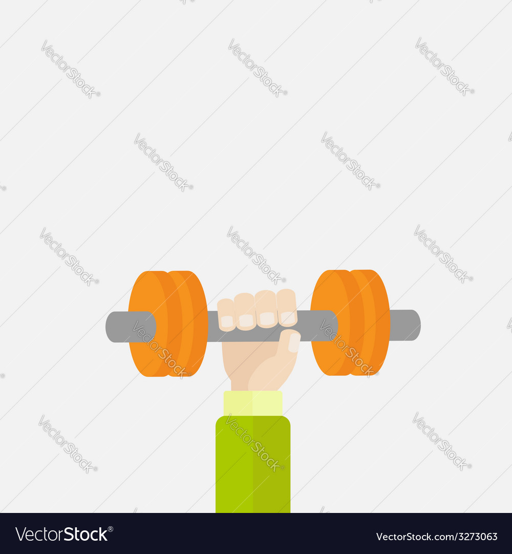 Hand holding dumbell sport fitness healthy vector | Price: 1 Credit (USD $1)