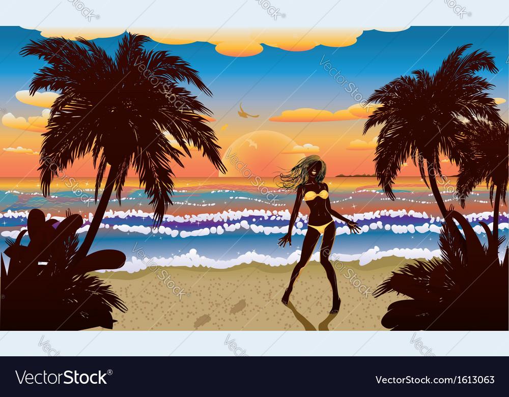Happy woman on beach vector | Price: 1 Credit (USD $1)
