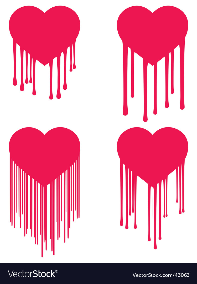 Heart drips vector | Price: 1 Credit (USD $1)