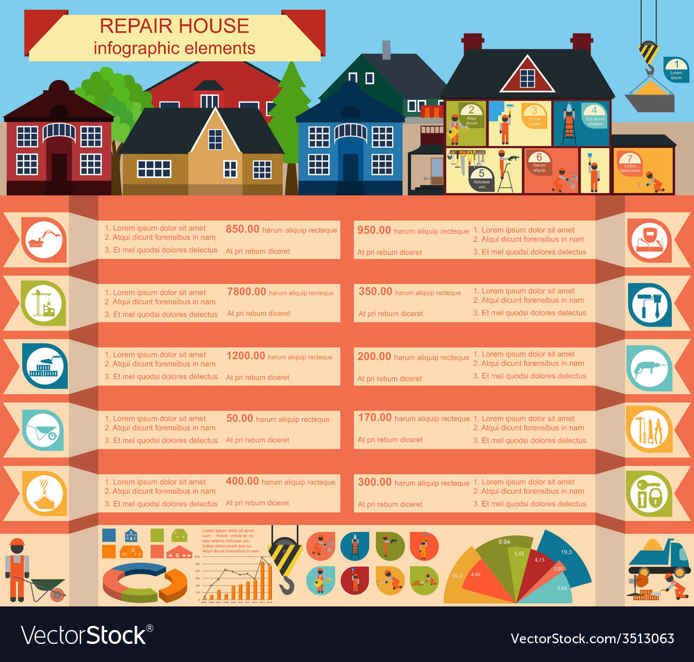 House repair infographic set elements vector | Price: 1 Credit (USD $1)