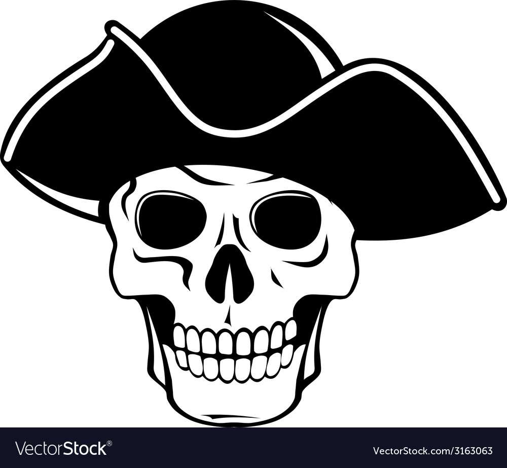 Pirate skull in black hat vector | Price: 1 Credit (USD $1)