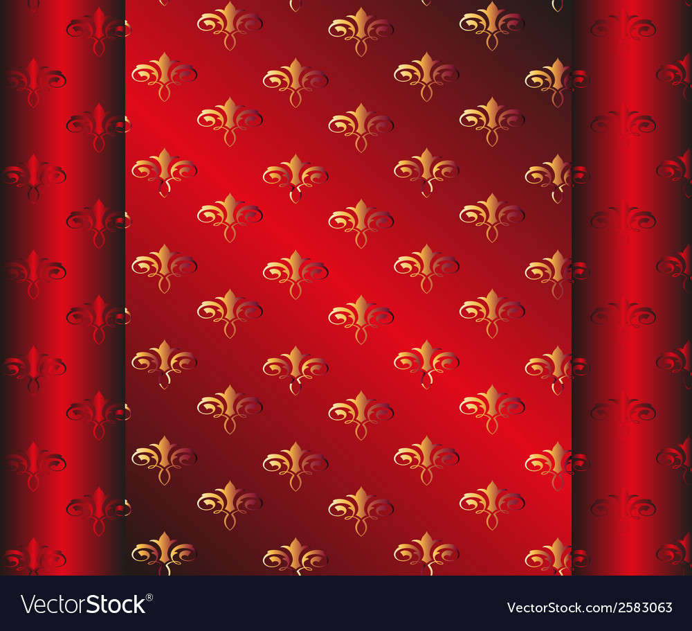 Seamless dark red wallpaper yellow floral vector | Price: 1 Credit (USD $1)