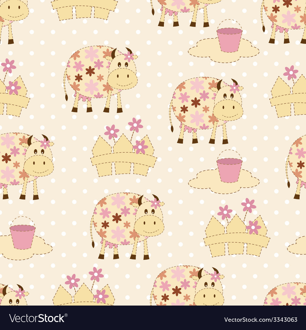 Seamless pattern with cows vector | Price: 1 Credit (USD $1)