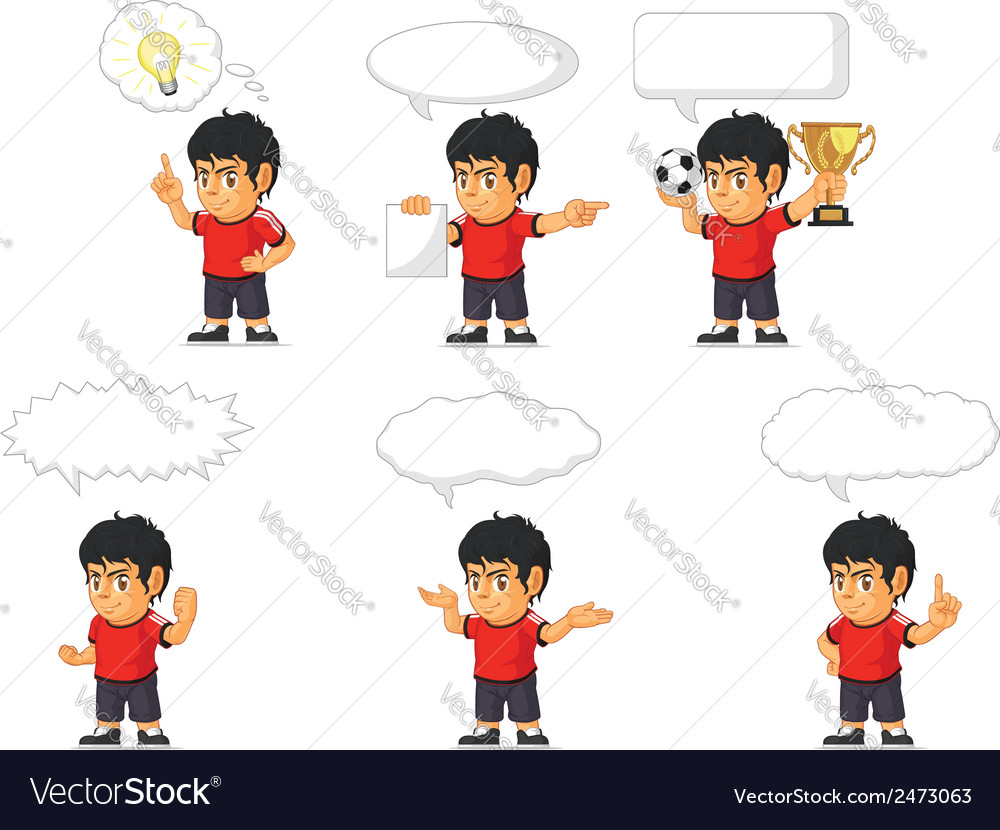 Soccer boy customizable mascot 21 vector | Price: 1 Credit (USD $1)