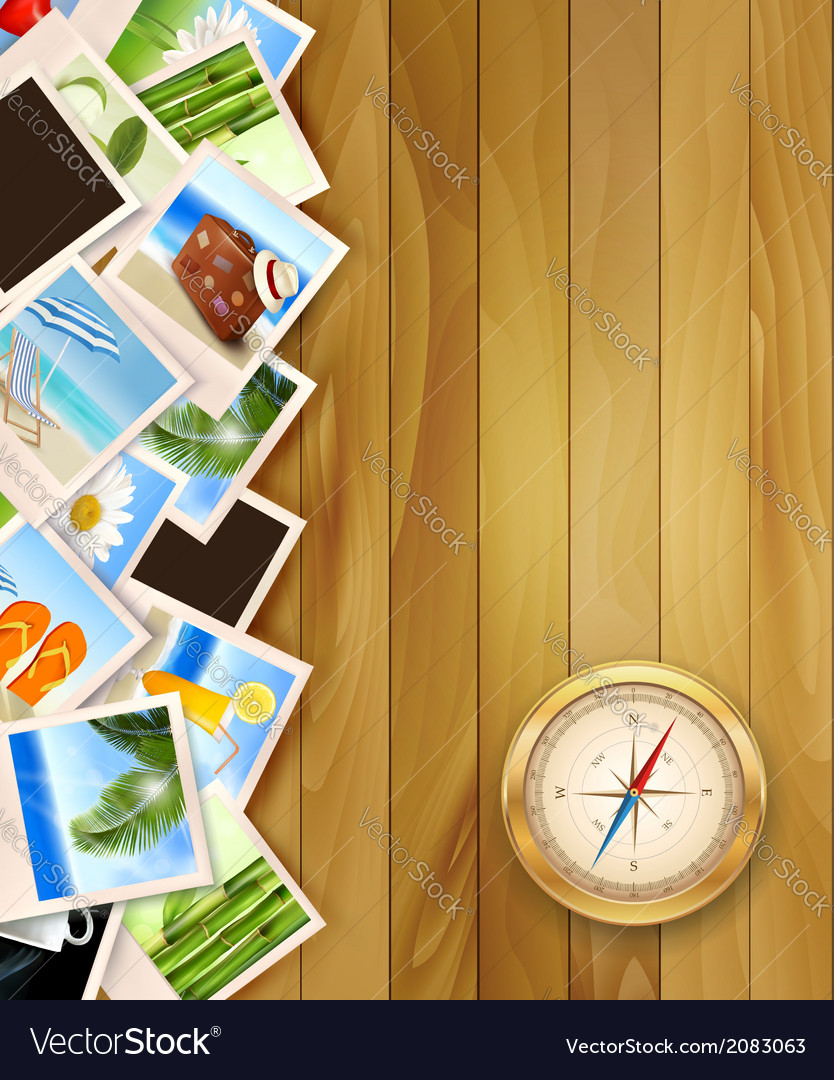 Travel photos and compass on wood background vector | Price: 1 Credit (USD $1)