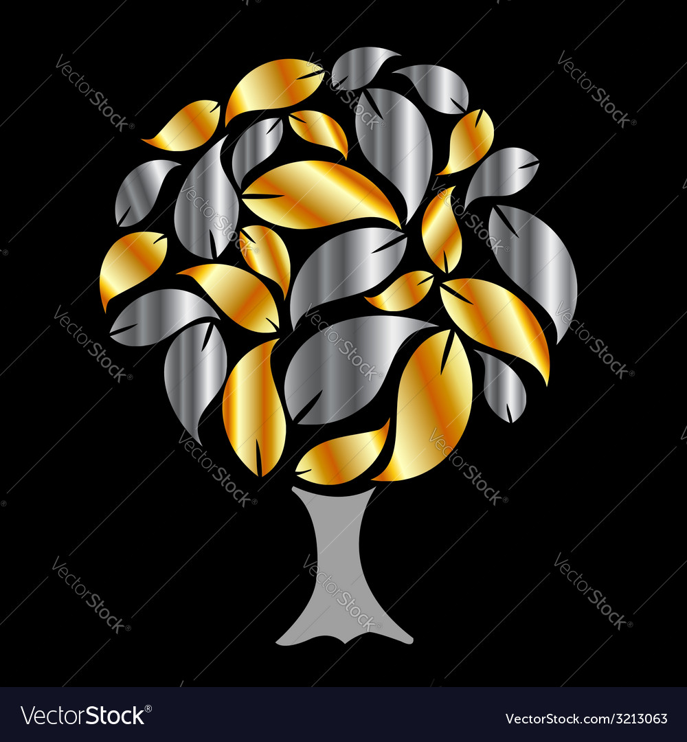 Tree with gold and silver leaves vector | Price: 1 Credit (USD $1)