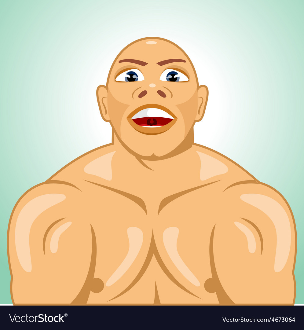 Bald bodybuilder straining muscles vector | Price: 1 Credit (USD $1)