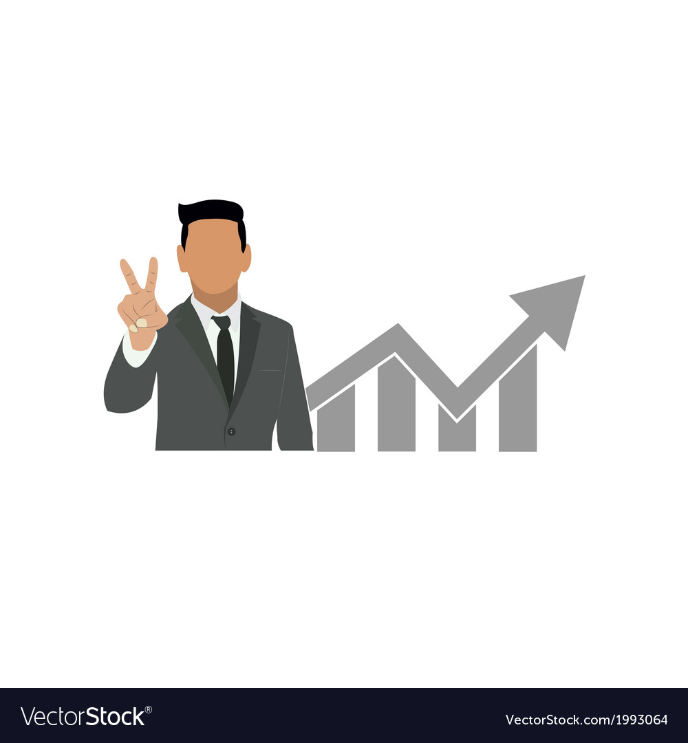 Businessman holds two fingers symbol vector | Price: 1 Credit (USD $1)