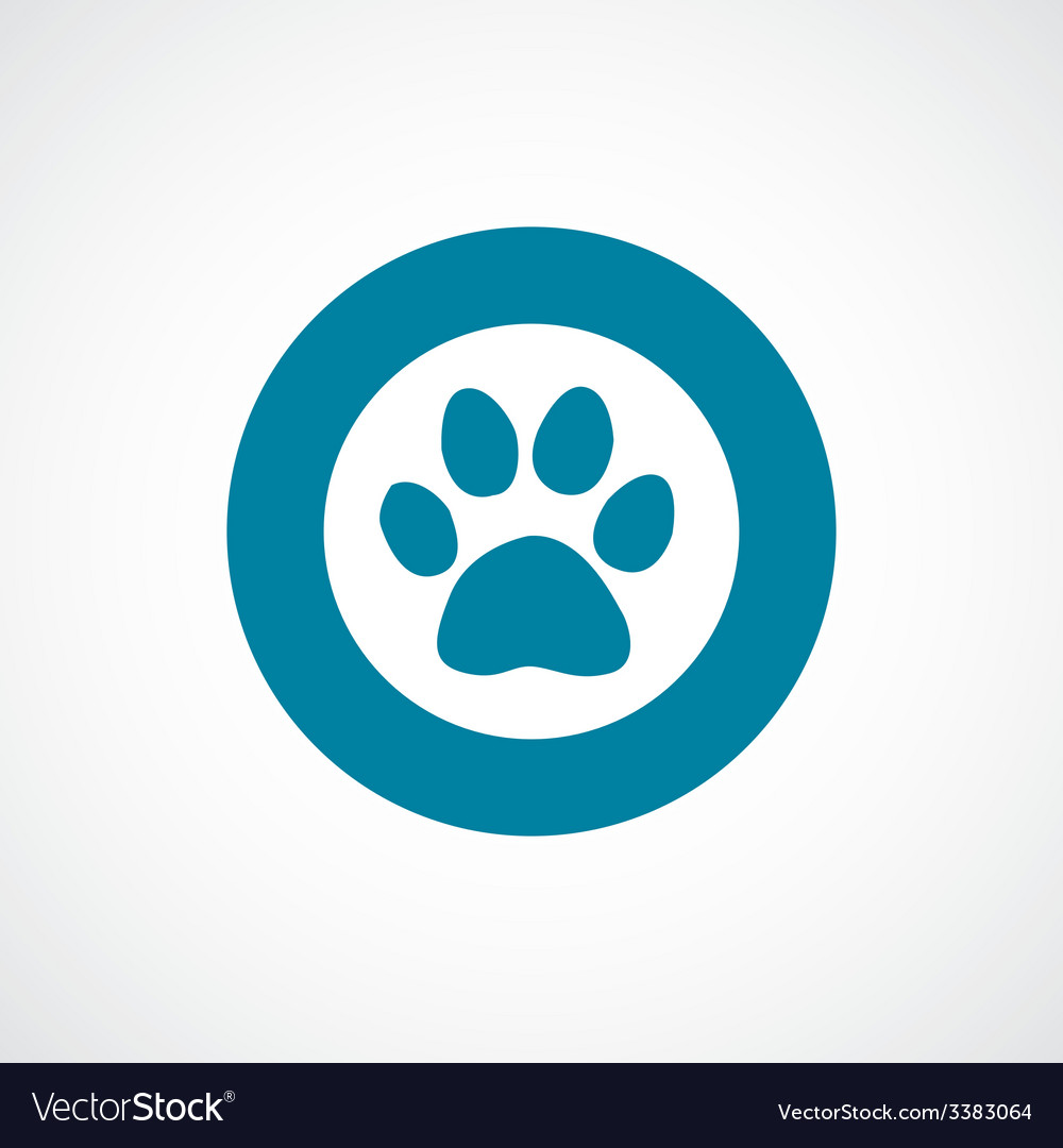 Cat footprint bold blue border circle icon vector | Price: 1 Credit (USD $1)