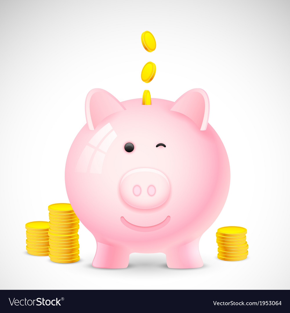 Coin falling into piggy bank vector | Price: 1 Credit (USD $1)