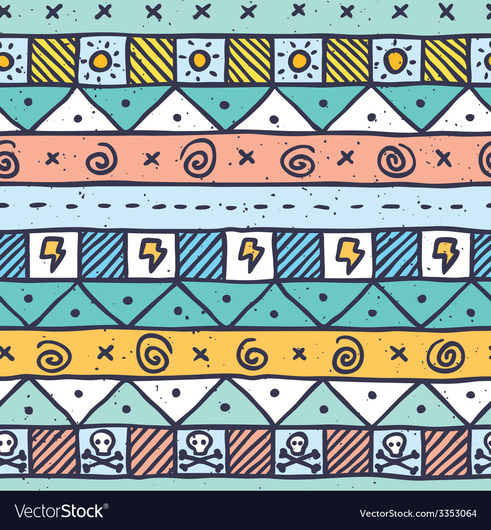 Cute native hand drawn pattern vector | Price: 1 Credit (USD $1)