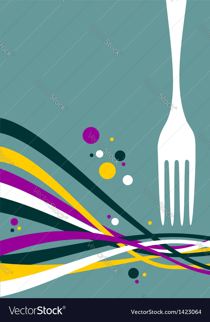 Fork with multicolored waves background vector | Price: 1 Credit (USD $1)