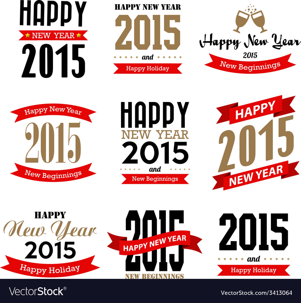 Happy new year typographic design vector | Price: 1 Credit (USD $1)