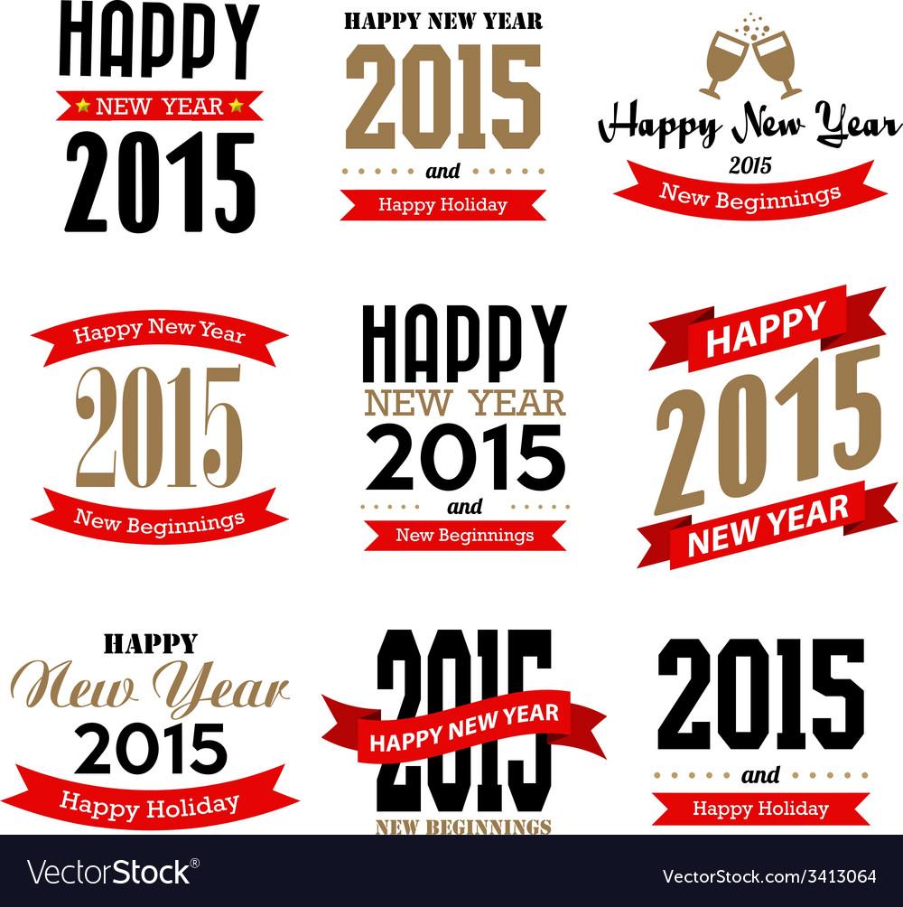 Happy new year typographic design vector | Price: 1 Credit (USD $1)