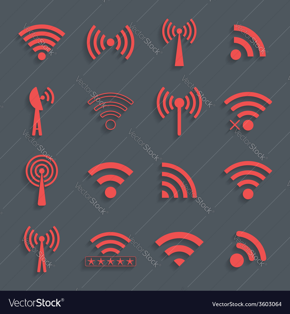 Set of different red wifi icons for communication vector | Price: 1 Credit (USD $1)
